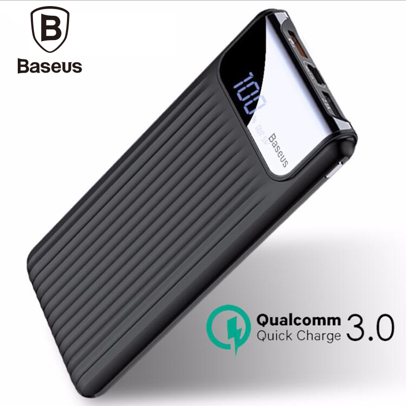 Baseus 10000mAh Power Bank 2A Quick Charger 3.0 Travel Charger Digital Player Powerbank For iPhone Samsung Galaxy S8 S9