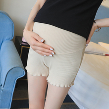 2020 summer pregnant women belly trousers maternity leggings cotton sliver belly shorts solid color pleated safety empire shorts cheap Pengpious Acetate Fashion JERSEY Natural Color w080513 REGULAR Elastic Waist