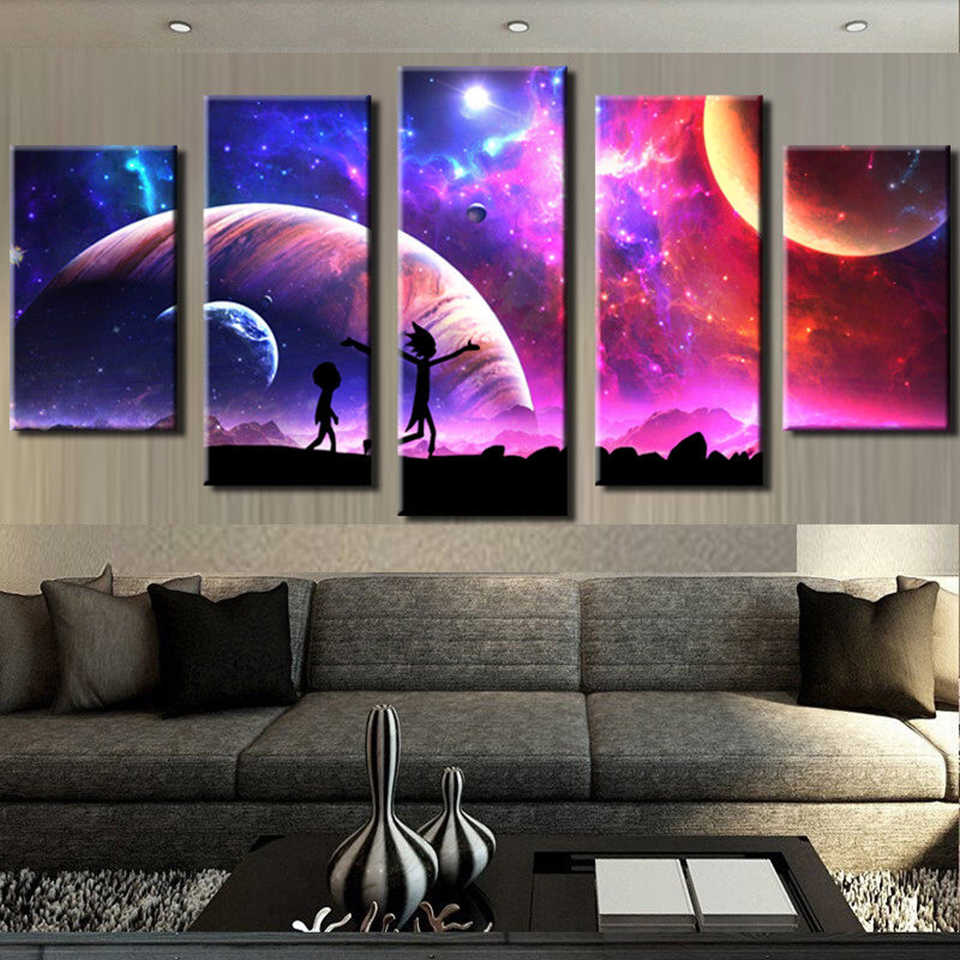 Painting Wall Pictures Home Decor Artwork Modular 5 Panel Rick And Morty Poster Framework HD Printed Modern Canvas Living Room