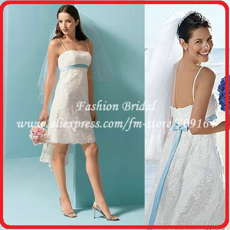 Designer Spaghetti Vintage Short Wedding Gown With Color Sash TWD024 ...