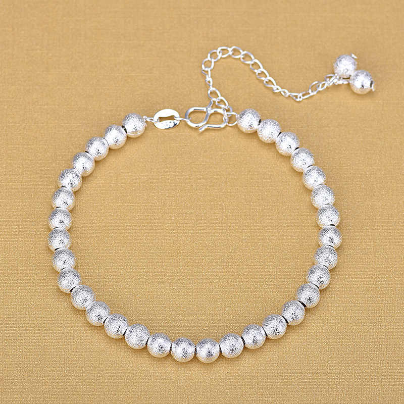 Free Shipping Top Quality Wholesale Silver Matt Beads Bracelets 925 Fashion Bracelets Fine Fashion Bracelet