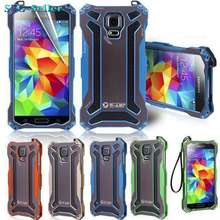 R-JUST  Carbon Fiber Metal Aluminum Frame Gundam Outdoor Climbing Case Cover for Samsung Galaxy S5 I9600 SJ0852