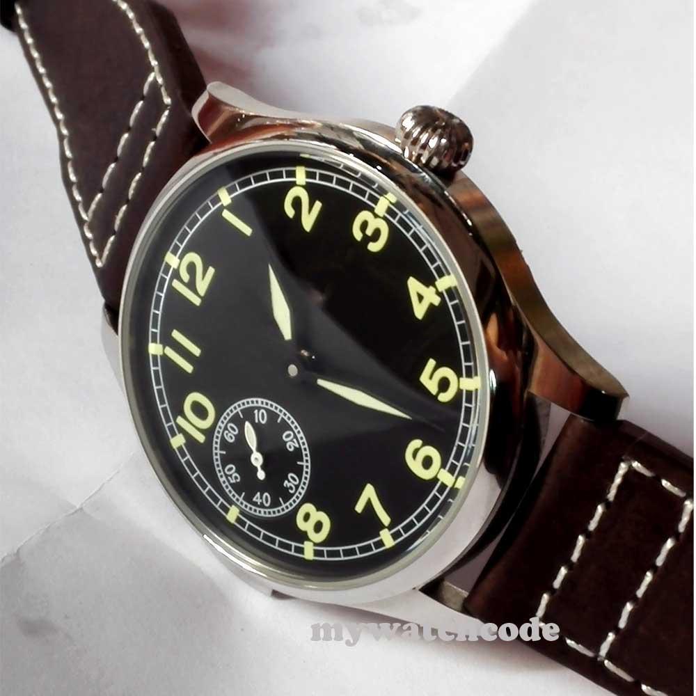 44mm parnis black dial luminous 6497 movement hand winding mens wrist watch P221