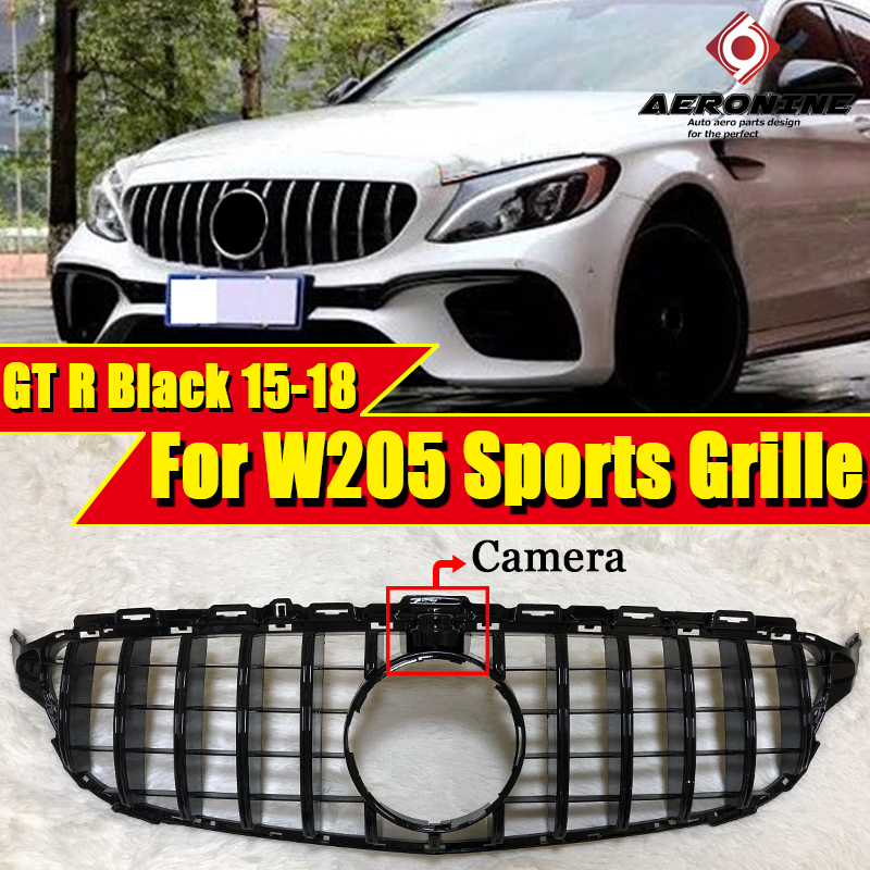 GTS style grille W205 C205 C Class C180 C200 C250 Models with 36 camera ABS Black For C63amg Front Grills Without sign 15-18