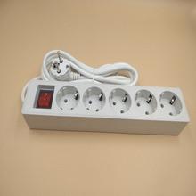 Cable de extensión de 5M, enchufe europeo, 3 Jack, 4 Jack, 5 Jack, 250V, tira de alimentación electrónica, tomas de mesa, filtro de red