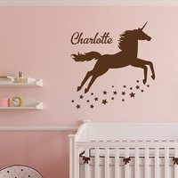 Unicorn Wall Decal Personalized Girl Name Vinyl Sticker Girl Name Wall Decal Magical Pastel Unicorn Vinyl Decal With Name