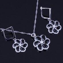 цена на Distinctive Black Cubic Zirconia White CZ 925 Sterling Silver Jewelry Sets For Women Earrings Pendant Chain V0019
