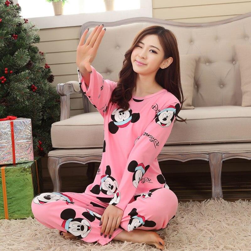 New Outono Inverno Mulheres Pijamas Finos Conjuntos de Pijama Pijamas de Manga Longa Definir Estudante Treino Tops Feminino Noite Terno Sleepwear