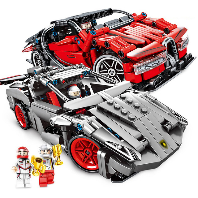 369Pcs/422Pcs Technic Bricks Pullback Speed Racing Car Building Blocks Compatible Legoings Racer Figures Toys Children Boy Gifts