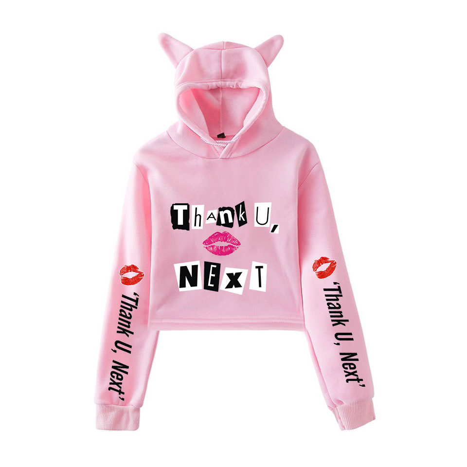 2019 Summer Hoodies Ariana Grande Fashion Trend Kawaii Cat Crop Top Women Hoodies Sweatshirt Sexy Hot Kpop Harajuku Plus Size