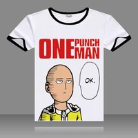 Hot Anime One Punch Man T-shirts Black O-Neck Short Sleeve Tops Fashion Saitama Printed Genos Tees for Summers