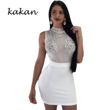 Kakan summer new hot sexy dress womens mesh diamond nightclub club party