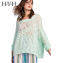 HYH HAOYIHUI Streets Style Mint Green Women Sweaters sexy Sleeve Embroidery Pullovers Female 2018 New Fashion Loose Tops