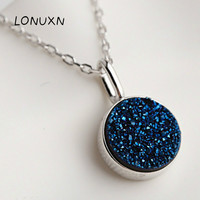 Hot Sale 100% 925 Sterling Silver Sparkling Sky Women round Pendant with chain Necklaces blue crystal Jewelry S925 With Box