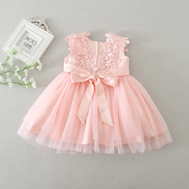 Us 1759 20 Offhot Baby Dresses Girl Pink Lace Flower Baptism Dress Birthday Party Baby Girl Clothes Vestido Infantil Menina 3 24m In Dresses From
