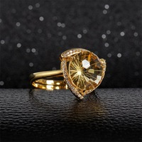 TYME Fashion jewelry wholesale 925 silver Semi precious stones gold inlaid natural yellow crystal ring female luxury ring