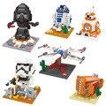 Mini blocos de star wars r2-d2 darth nanoblocks bb-8 7 3d diy tijolos de construção de brinquedos presentes de ação compatível com presente