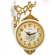 European Double-sided Wall Clock Living Room Creative Fashion Large Garden Two-sided Cafe Decoration Mute 5K596