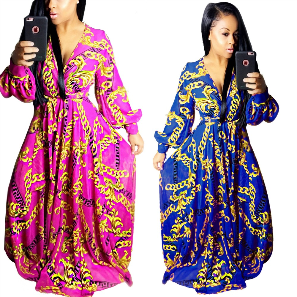 2017 sexy d\u0027été maxi longue dress vêtements africain bazin riche robe  golden chain imprimer