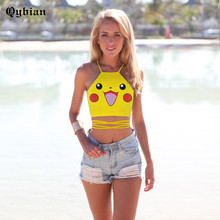 2016 new summer Pikachu Smile printing tank tops women sexy tops sleeveless halter camis Camisole