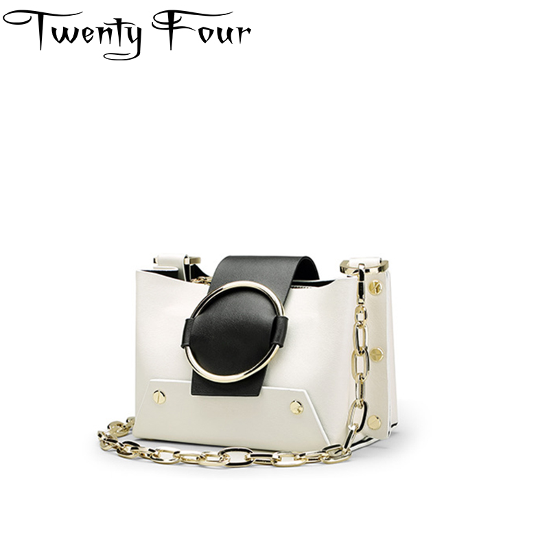 Twenty-four Women High quality Flap bag Genuine Leather Chains Shoulder bags Lady Ring Fashion Cross body bags Rivet Small bag twenty four women brand flap bags natural genuine leather handbags with chain solid color cover small bags young cross body bags