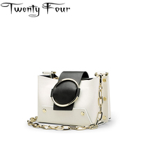 Twenty-four Women High quality Flap bag Genuine Leather Chains Shoulder bags Lady Ring Fashion Cross body bags Rivet Small bag