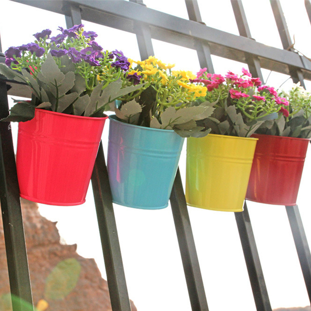 High Quality 10 Colors Hanging Flower Pot Hook Wall Pots Iron Holder Balcony Garden Planter