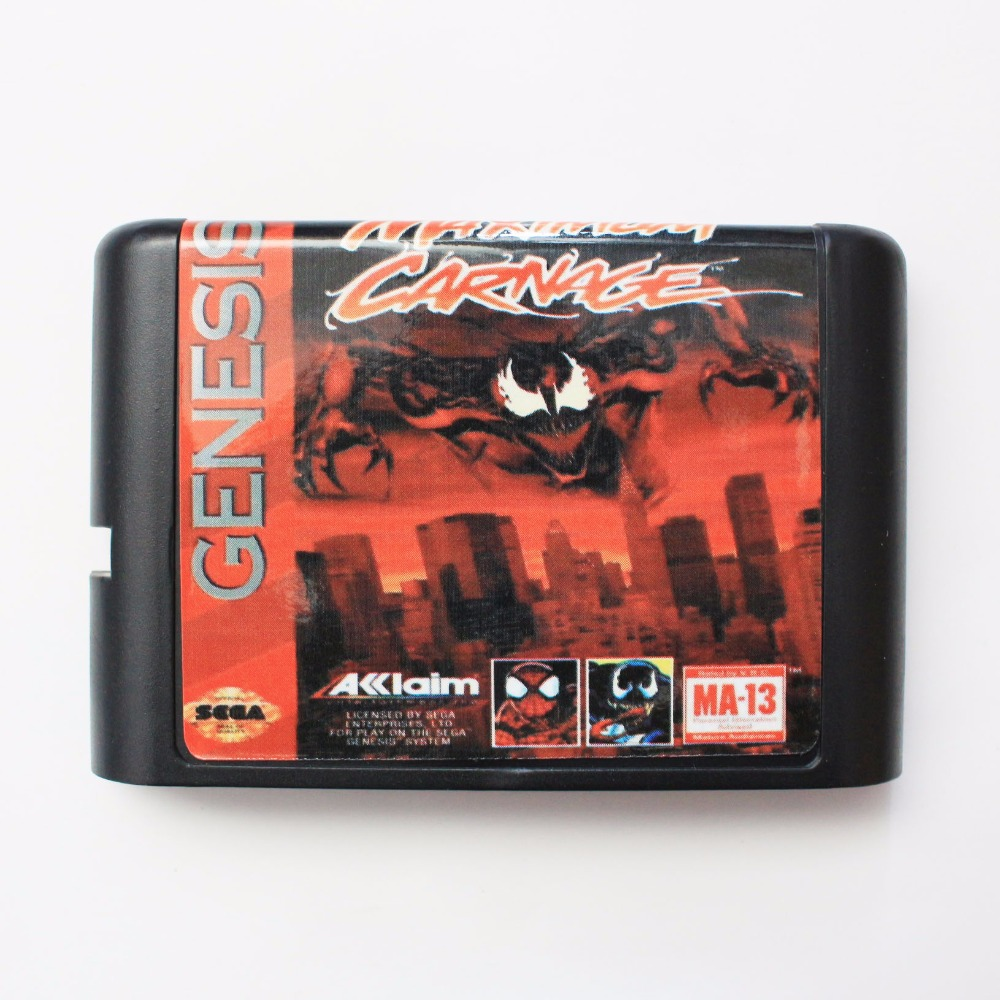Spider-Man and Venom - Maximum Carnage 16 bit SEGA MD Game Card For Sega Mega Drive For Genesis