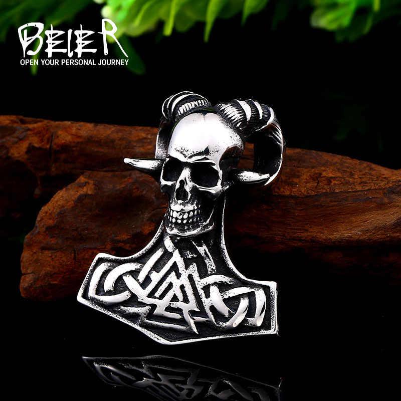 BEIER stal nierdzewna Norse Vikings Norse czaszka z róg naszyjnik oryginalny Amulet biżuteria punkowa dla człowieka łańcuch BP8-419