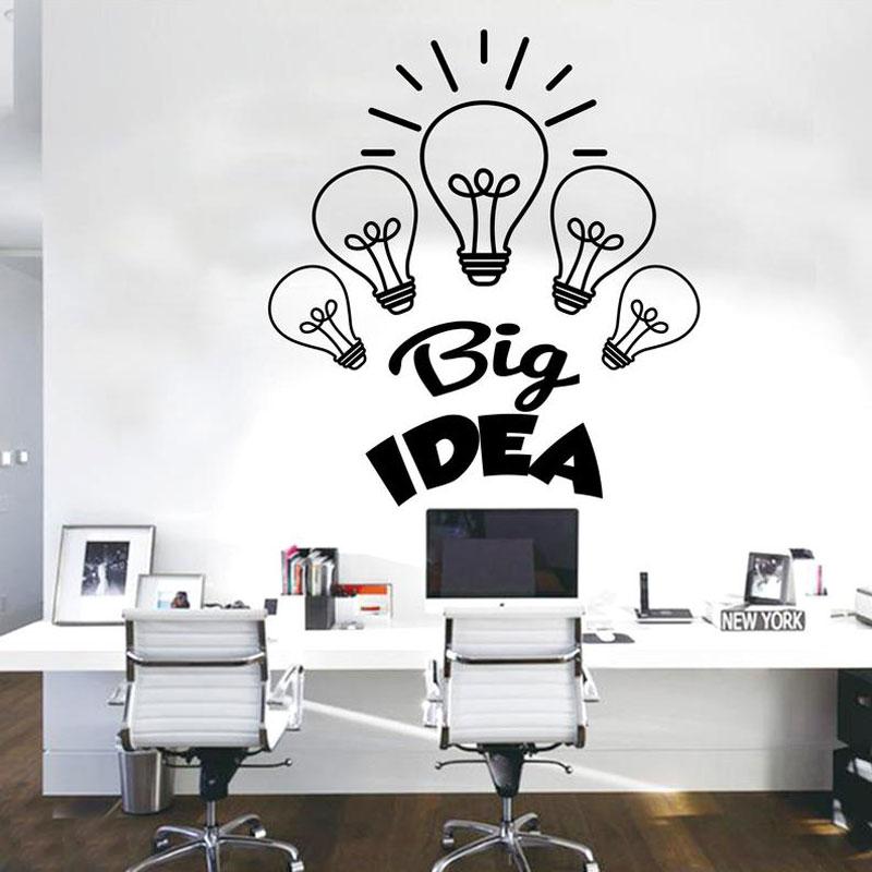 Creative Design Big Idea Business Office Wall Sticker Vinyl Interior Decor Light Bulb Decals Removable Murals Wallpaper A223 in Wall Stickers from Home Garden