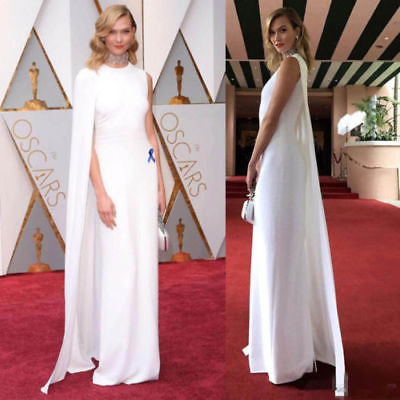 New White Celebrity   Bridesmaid     Dresses   With Cape Jewel Neckline Gown Custom Size 2-26