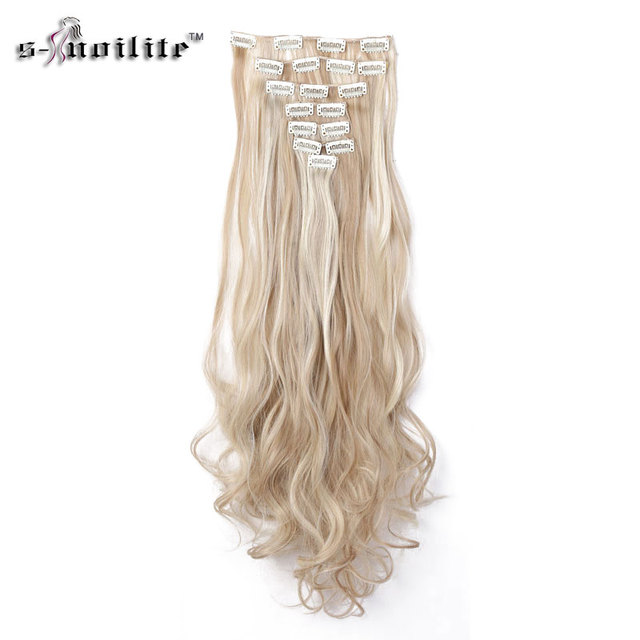 Snoilite 24inch 8pcsset Wavy 18 Clips In Hair Extensions False Hair