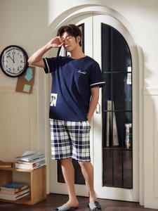 Pajama-Sets Outwear Short-Sleeve Leisure Cotton Men's Summer for Top-Pant Man Simple