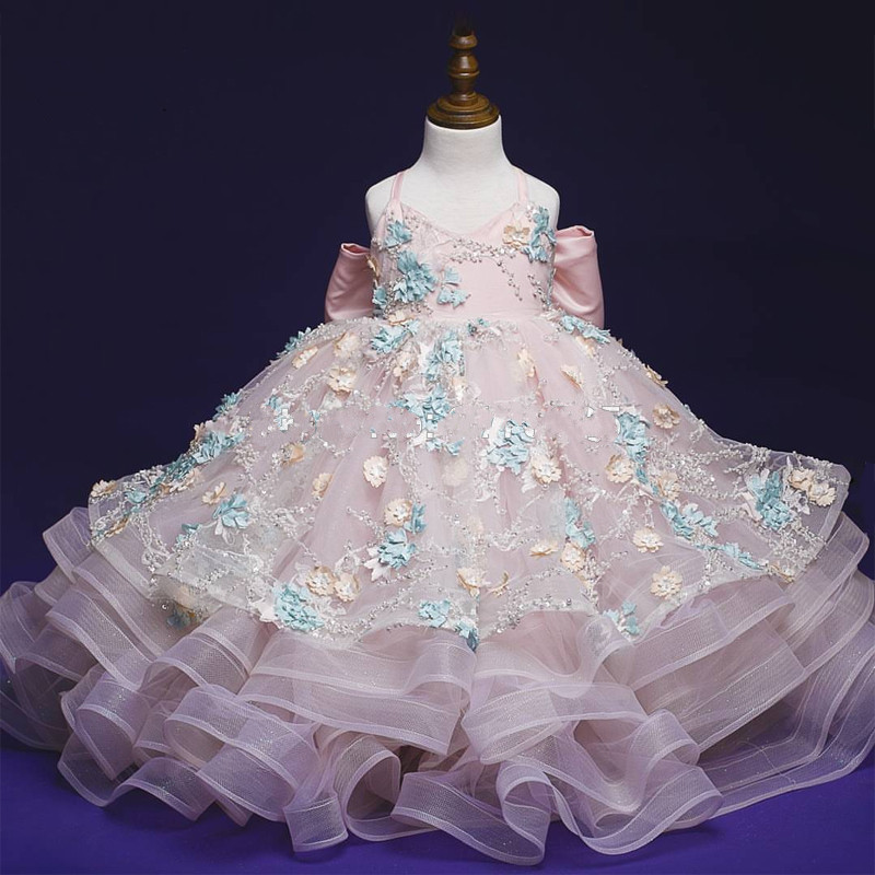 Luxury Ball Gowns for Cute Princess High Quality   Flower     Girl     Dress   for Special Occasion with Floral Appliques Beading Big Bow
