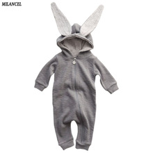 2017 Spring Autumn Baby Children Rompers Cute Rabbit Design Baby Bunny Romper Hooded Baby Boys and Girls One-piece Suits