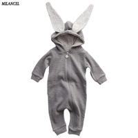 2016 Autumn Winter Baby Children Rompers Cute Rabbit Design Baby Sweater Style Romper Hooded Baby Boys
