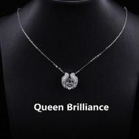 18 كيلو 750 الذهب الأبيض 1ctw القلب قص مختبر نمت مويسانيتي الماس العائمة قلادة قلادة غرامة الحلي المختنق للنساء