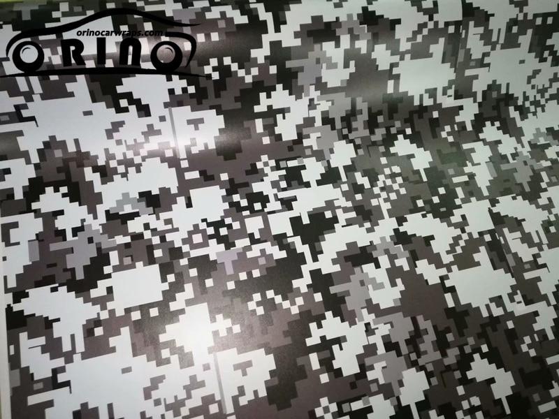 Wit Zwart Grijs PIXEL Camo Vinyl Voor Auto Wrap Digitale Auto Sticker Motorfiets Fiets Voertuig Wraps ORINO Car Wrapping - 3