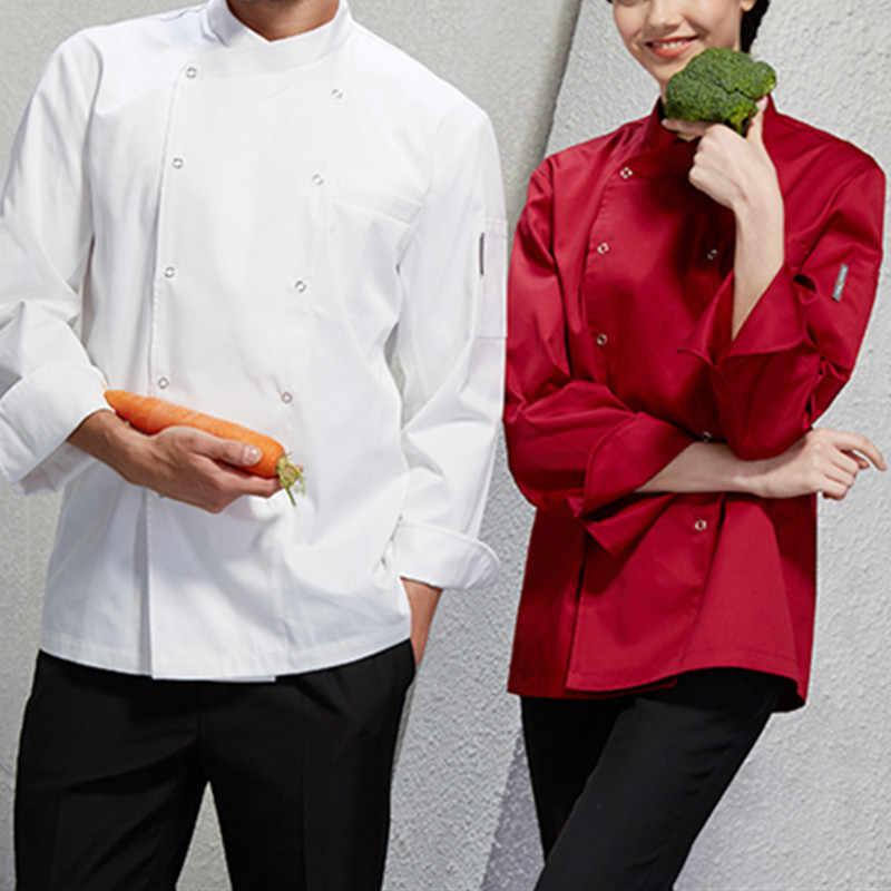 Белый красные, черные рубашка с длинными рукавами бариста Ресторан отеля Diner форма шеф-повара бистро Baker бар обращенной Повседневная обувь D18
