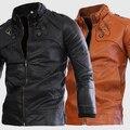 Entrega libre 2015, cuatro hebilla corto de calidad de moda abrigo masculino color sólido cuello delgado lava cuero de la motocicleta