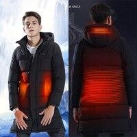 Новое поступление длинный раздел с подогревом куртки Usb нагреватель Мужчины вниз отопление пальто зима теплый хлопок с капюшоном на открыт