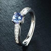 925 Sterling Silver Luxury Women Wedding Engagement Jewelry 0 43 Carat Tanzanite Diamond Female Wedding Finger