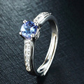 925 Sterling Silver Luxury Women Wedding Engagement Jewelry 0.43 Carat Tanzanite Diamond Female Wedding Finger Rings