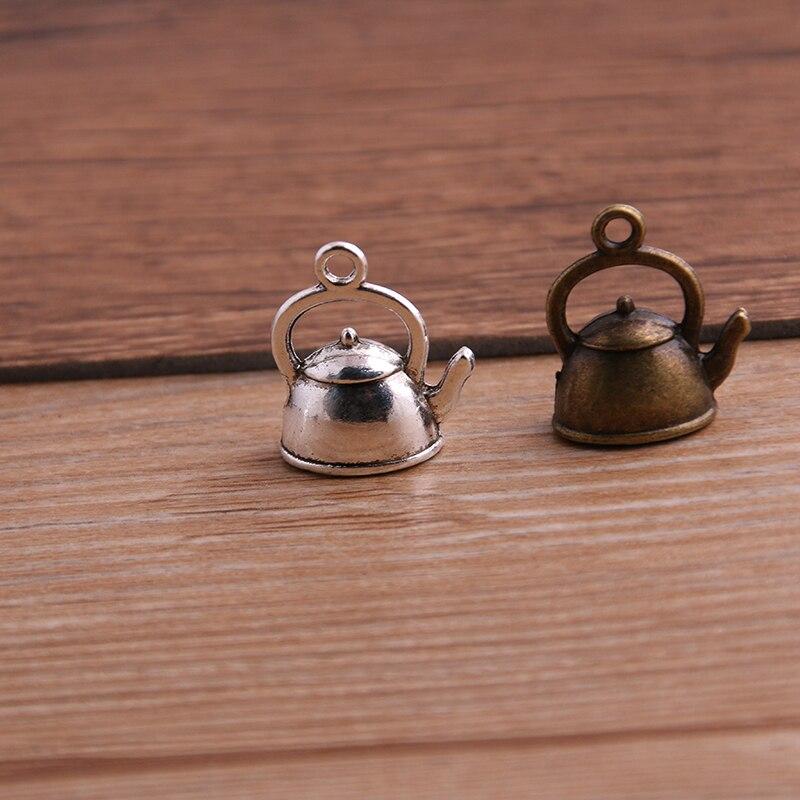 10PCS 10*17*19mm 3D Kettle Charms Teapot Pendant Two Color DIY Retro Jewelry Bracelet Necklace Charms Pendant 2