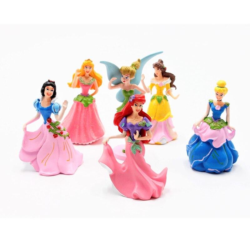 Disney Toys For Kids 6pcs/set New 2017 Fairy Princess Action Figures Mini Dolls Diy Cartoon Models Children Birthday Gifts Toys & Hobbies