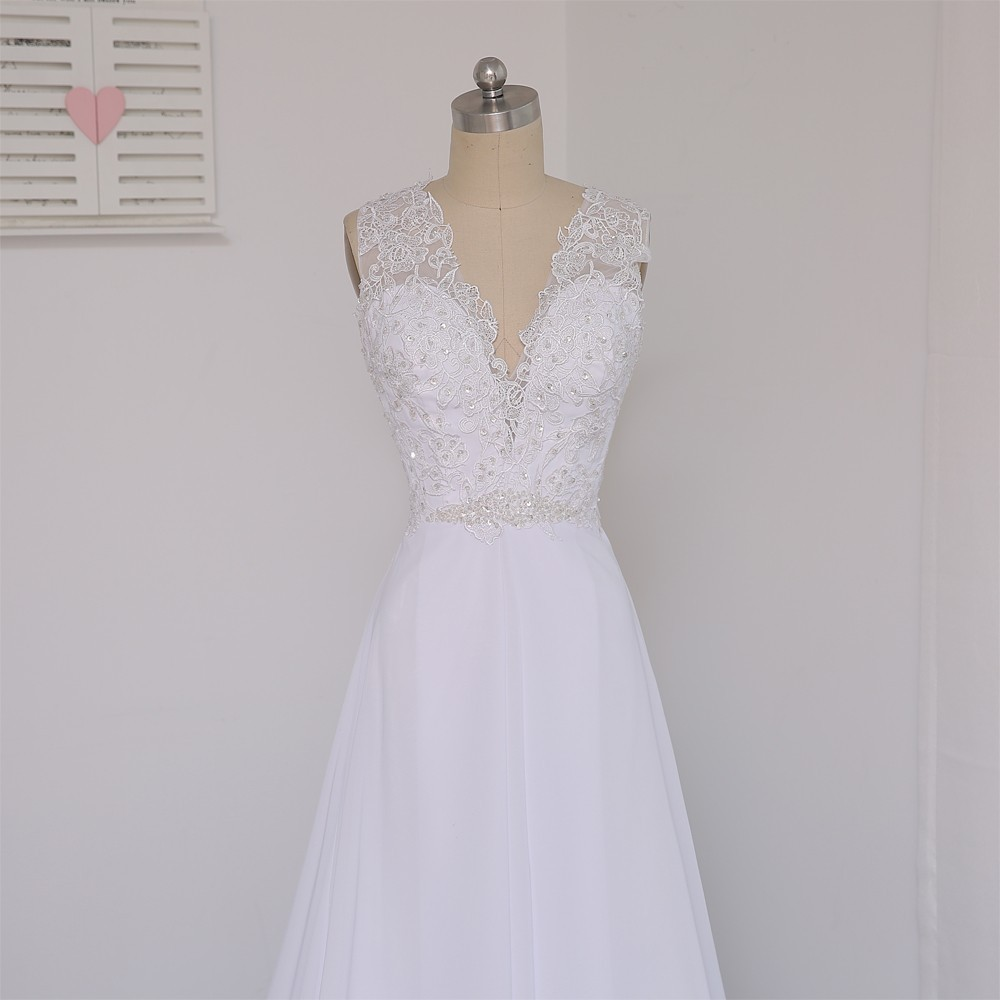 Vintage A-line Deep V-neck Beaded Lace Beach Wedding Dress