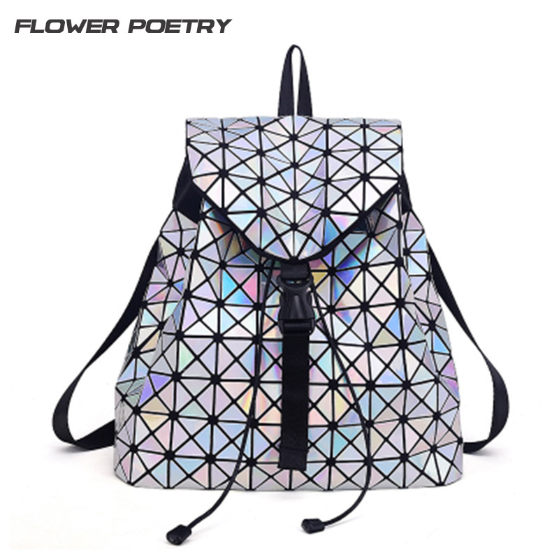 Women Laser Backpack for Teenage Girls Drawstring Fold Geometry Mirror Schoolbags Quilted Backpack Holograph School Bags