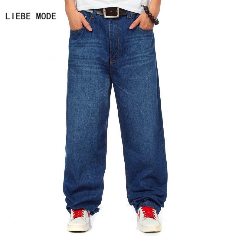 Intelligent Mens Wide Leg Denim Pants Hip Hop Blue Casual Baggy Jeans Trouser For Rapper Men Relaxed Jean Skateboard Pants Bell Bottom 44 46