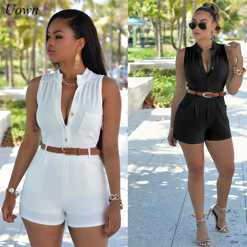 Summer Women Casual Playsuit Sleeveless Bodysuit Solid Short Bodycon Rompers   Jumpsuit   Ladies Short Pants Overalls with Belt XXL