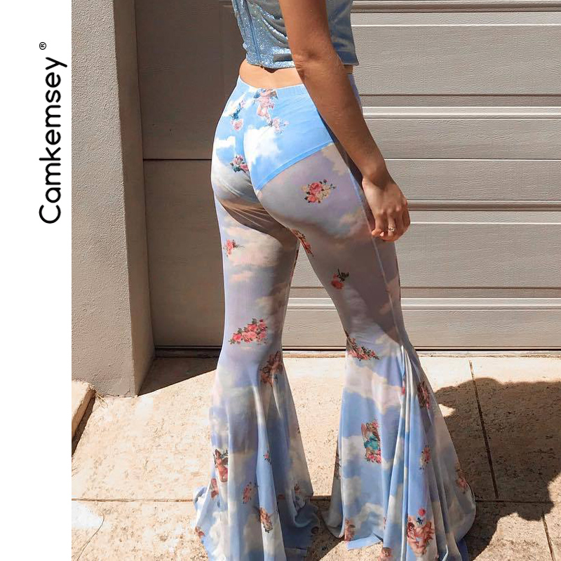 CamKemsey Cute Angle Printed Street Wide Leg Flare   Pants   Women 2019 Summer Style Sexy See Through Mesh Skinny   Pants     Capris